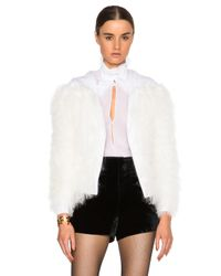 Burberry Prorsum - White Lamb Shearling Knit Cardigan - Lyst