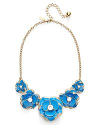 Kate Spade | 12k Gold-plated Blue Crystal Bouquet Frontal Necklace | Lyst