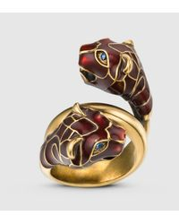 Gucci - Multicolor Tiger Head Ring With Red Enamel - Lyst