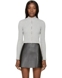 T By Alexander Wang - Gray Grey Cropped Ribbed Cardigan - Lyst