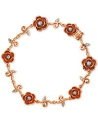 Macy's - Multicolor Diamond Accent Rose Bracelet In 18k Rose Gold Over Silver-plated Bronze - Lyst