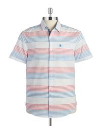 Original Penguin | Blue Striped Sportshirt for Men | Lyst
