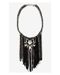 Express - Black Short Wrapped Chain And Mixed Fringe Necklace - Lyst