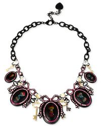 Betsey Johnson - Pink Black-tone Pavé Crystal Bow-and-keyhole Frontal Necklace - Lyst