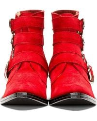 Toga Pulla - Red Suede Western Buckle Boot - Lyst