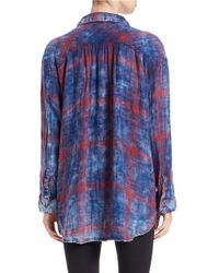 Free People   Blue Plaid Button-down Shirt   Lyst