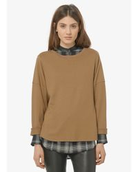 Vince - Natural Relaxed Rolled-Sleeve Crew Neck Sweater - Lyst
