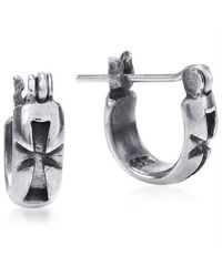 Aeravida - Metallic Maltese Cross Inscribed Sterling Silver Hoop Lock Earrings - Lyst