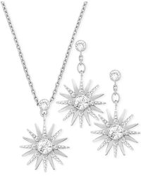 Swarovski | Metallic Rhodium-plated Crystal Necklace And Earrings Set | Lyst