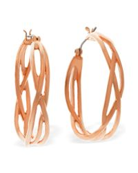 T Tahari | Pink 14k Rose Goldtone Twisted Hoop Earrings | Lyst