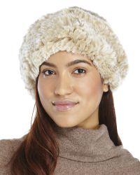 Surell - Natural Real Rabbit Fur Knit Beret - Lyst