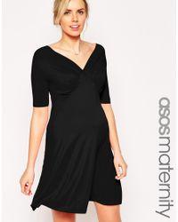 ASOS | Black Tea Dress In Jersey | Lyst