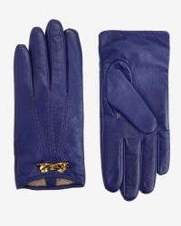 Ted Baker | Blue Bow Trim Leather Gloves | Lyst