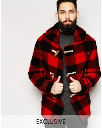 Gloverall | Red Cropped Duffle Coat In Buffalo Plaid - Exclusive for Men | Lyst