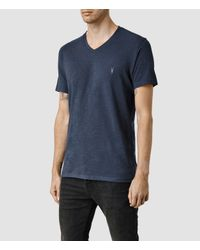 AllSaints - Blue Henning V-neck T-shirt for Men - Lyst