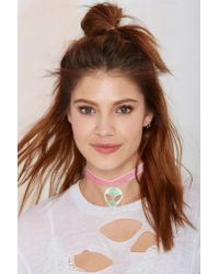 Nasty Gal | Pink Suzywan Deluxe Spaced Out Iridescent Velvet Choker | Lyst
