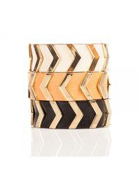 Linea Pelle | White Chevron Stud Bracelet | Lyst