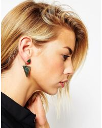 ASOS | Green Semi Precious Swing Earrings | Lyst