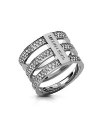 Michael Kors | Metallic Brilliance Silver Tone Triple-Stack Pave Ring | Lyst