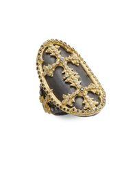 Armenta | Metallic Old World Black Diamond, White Diamond, Oxidized Sterling Silver & 18k Yellow Gold Cross Ring | Lyst