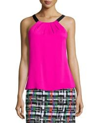 MILLY - Pink Stretch-Silk Ruched Top - Lyst