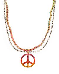 Betsey Johnson - Multicolor Crystal Peace Sign Necklace - Lyst