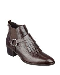 Marc Fisher | Brown Rayna Fringe-accented Leather Ankle Boots | Lyst