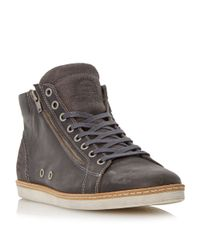 Dune | Gray Sugar Snap Lace Up Hi Top Trainers for Men | Lyst