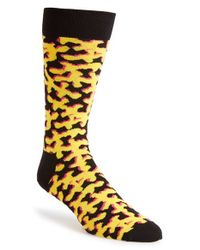 Happy Socks | Yellow Camo Socks for Men | Lyst