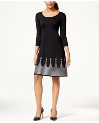 Nine West | Black Placed-print Sweater Dress | Lyst