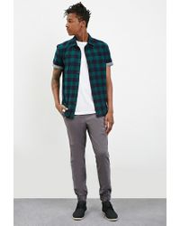 Forever 21 | Green Chambray-trimmed Buffalo Plaid Shirt for Men | Lyst