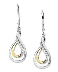 Macy's | Metallic 14k Gold And Sterling Silver Earrings, Diamond Accent Swirl Teardrop | Lyst
