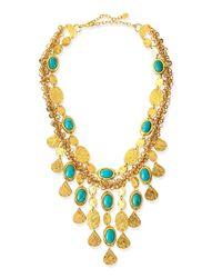Jose & Maria Barrera - Metallic 24K Gold Plate & Turquoise Bib Necklace - Lyst