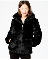 Jones New York | Black Hooded Faux-fur Coat | Lyst