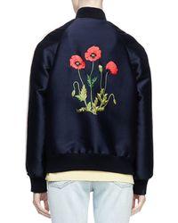 Stella McCartney - Blue Floral-embroidered Bomber Jacket - Lyst