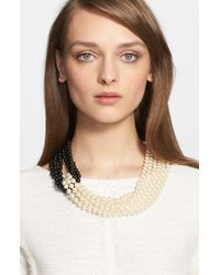 St. John | Metallic Two-tone Faux Pearl Multistrand Necklace | Lyst
