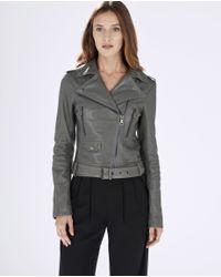 Parker | Gray Belfast Leather Moto Jacket | Lyst