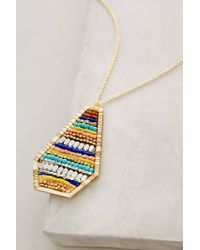 Anthropologie - Blue Striated Pendant Necklace - Lyst