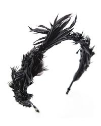 Colette Malouf | Black Ruffled Feather Headband | Lyst