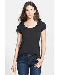 Eileen Fisher - Black Organic Cotton Scoop Neck Tee - Lyst