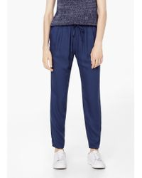 Mango | Blue Textured Baggy Trousers | Lyst