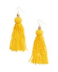H&M - Yellow Long Earrings - Lyst