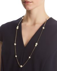 Jaeger - White Pearl And Chain Necklace - Lyst