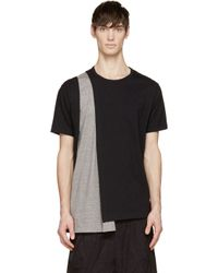 Yohji Yamamoto - Black And Grey Inset Drape T_Shirt for Men - Lyst