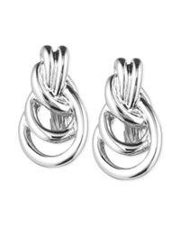 Anne Klein - Metallic Silvertone Knot Clipon Earrings - Lyst