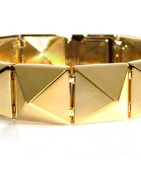 Noir Jewelry | Metallic Smooth Pyramid Solid Brass Bracelet | Lyst