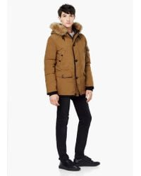 Mango - Brown Detachable Hood Feather Down Coat for Men - Lyst
