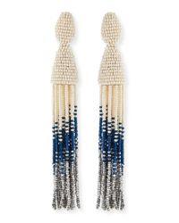 Oscar de la Renta - White Long Ombre-Beaded Tassel Clip Earrings - Lyst