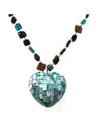 Aeravida - Blue Mosaic Heart Of Abalone Shell Handmade Necklace - Lyst