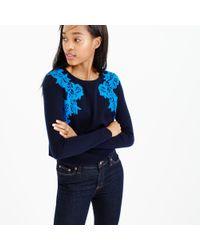 J.Crew - Blue Petite Lace Appliqué Sweater - Lyst